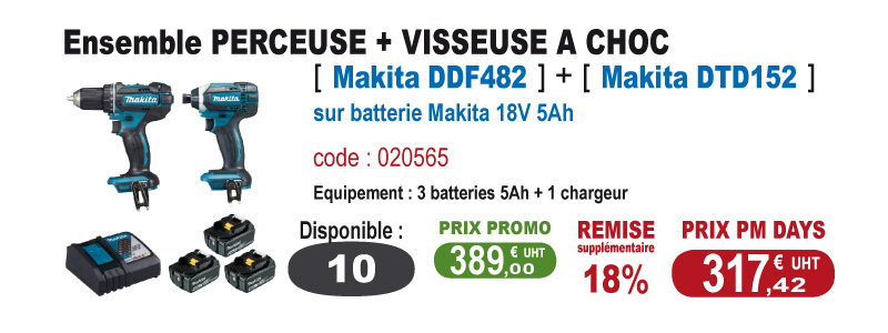 Ensemble Perceuse et visseuse a choc - Makita DDF482 + Makita DTD152