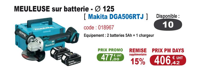 Meuleuse sur batterie - Makita DGA506RTJ