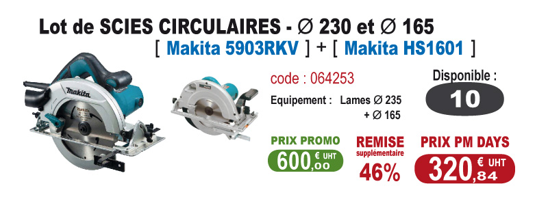 Lot de Scies circulaires - Makita 5903RKV + Makita HS1601